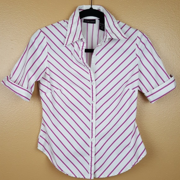 b35b0ce7 $3🎉 NY & Co.🌟 Pink Blue White Stripe Button Down.  M_5ae7c3352ae12f2f1122b1ca